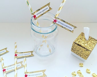 Gold party decorations, silver party decor, glitter party, 24 Paper Straws, Personalized Straw, Wedding Straw Flags, Bridal Shower Favours