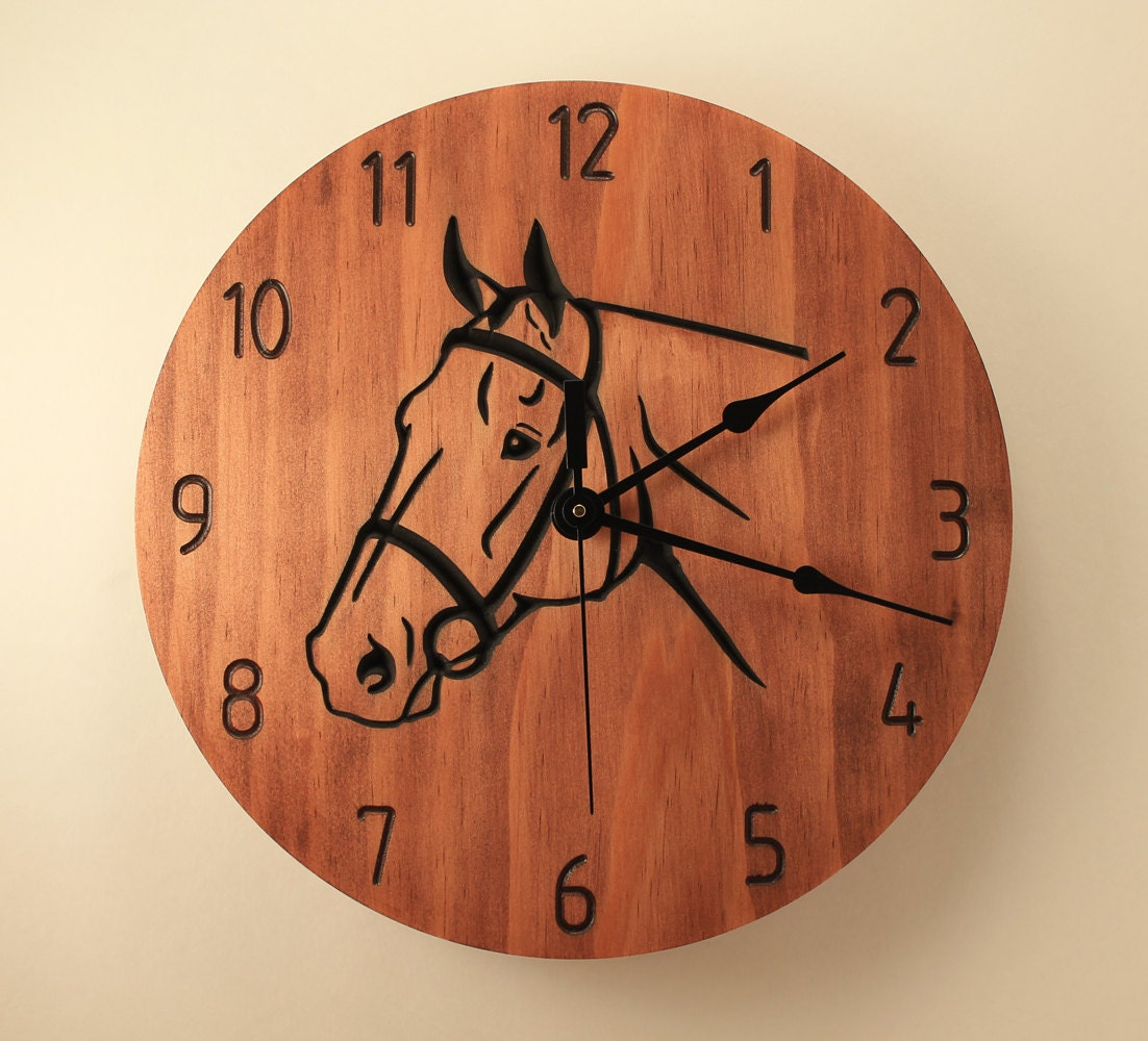 Pine Horse Clock Animal Clock Wood Clock Wall Clock Wooden