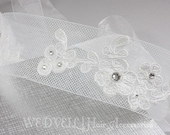 Lace Headband for Wedding, with Crystals