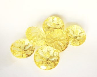 Large yellow crystal buttons, 6 Big transparent plastic buttons with shanks, 28 mm, 23 mm or 18 mm