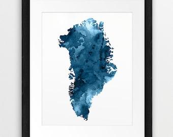 Greenland Watercolor Map Print, Greenland Wall Art, Greenland Silhouette Watercolor Navy Blue, Modern Wall Art, Home Decor, Printable Art