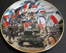 """collectible china plate Franklin Mint Heirloom """"The liberation of Paris"""""""