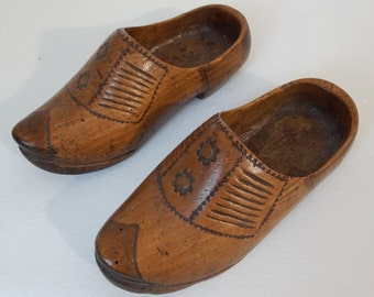 antique small french wooden clogs