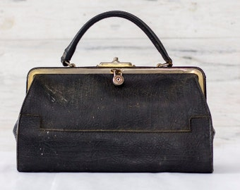 French Black Leather Doctor's Bag