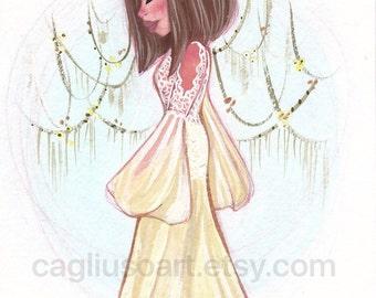 Camila original 5x7 gouache painting