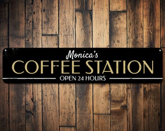 Coffee Station Sign, Open 24 Hours Sign, Java Kitchen Decor, Custom Barista Sign, Coffee Lover Gift for Barista -Quality Aluminum ENS1001775