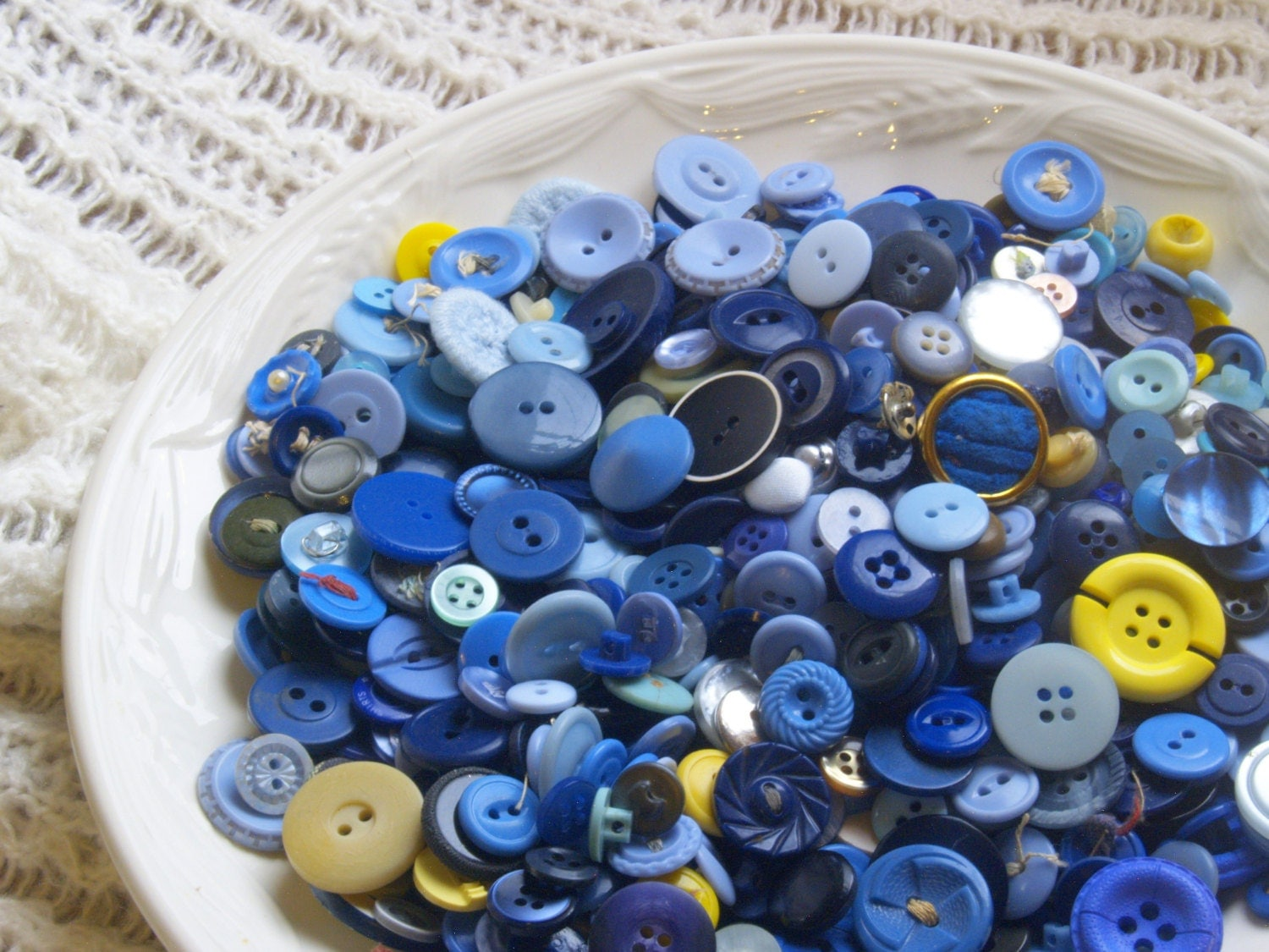 Blue buttons lot bulk supplies vintage and new kids crafts for Craft kits for kids in bulk