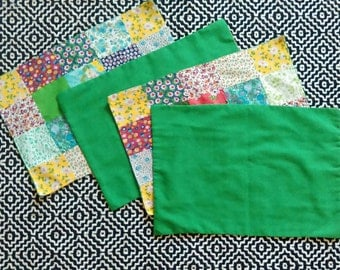 Set of 4 Vintage Patchwork Placemats Green Table Linens