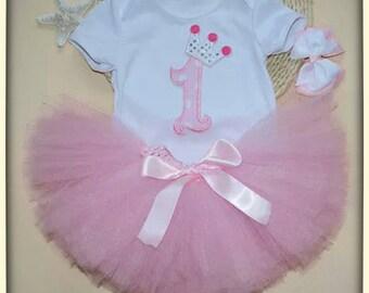1st birthday dress-girls 9-12 months birthday tutu-first birthday onesie-baby girl party dress-pink tutu-cake smash-photo prop