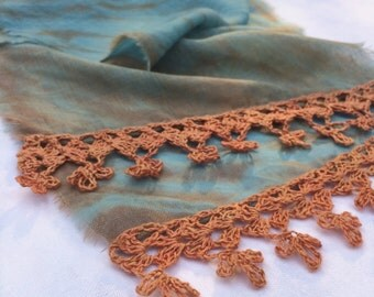 Naturally Dyed Fine Wool Gauze Scarf with Hand Crocheted Trim Indigo/Madder Rose