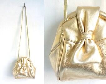 70s gold leather bag, small crossbody bag, leather handbag, 1970s metallic gold bag, genuine leather purse, minimalist bag
