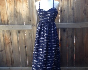 Boho Dress Maxi Dress Bird Dress Blue Dress  Party Dress Long Dress Summer Dress Size 6 Beach Dress