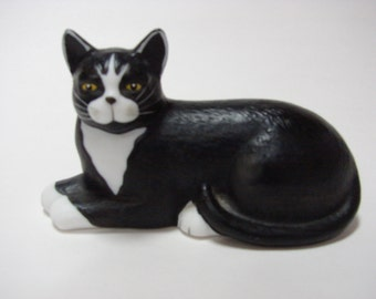 Mary Lake-Thompson Black and White Cat Figurine