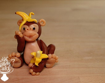 Clay monkey ornament or cake topper!
