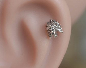 Tragus earring - Tragus Piercing - Cartilage Earring - Helix Piercing - Sterling Silver indians