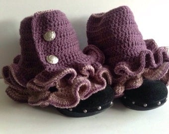 Handmade crochet ruffled spats boot cuffs steampunk Victorian all sizes kids and adult