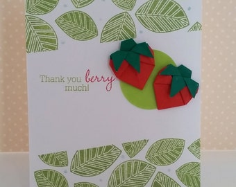 "Handmade Origami Strawberries Thank ""Berry"" Much Card"