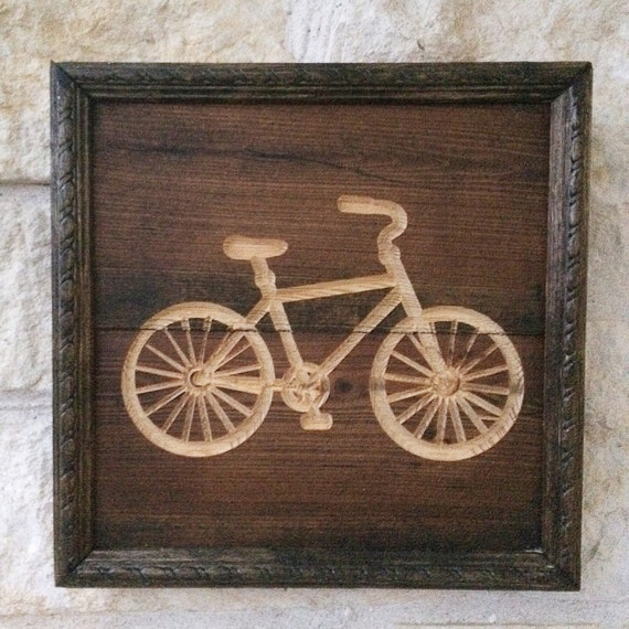 Bicycle Home Decor: Items Similar To Bicycle Silhouette Wood Home Decor