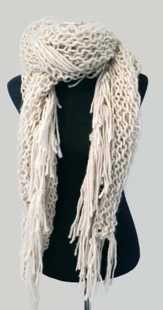 Knitted Scarf Patterns Alpaca Yarn : Alpaca shawl with fringing.Handmade knit scarf Wool by CopperPenni