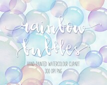 "Hand-painted Watercolour Rainbow Bubbles Clip Art and 12"" x 12"" Printable Bubble Papers"