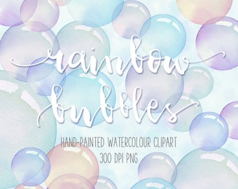 """Hand-painted Watercolour Rainbow Bubbles Clip Art PNG elements and 12"""" x 12"""" Printable Bubble Papers"""