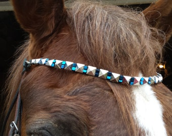 beaded browband; horse bridle; horse tack; beads; silver; blue
