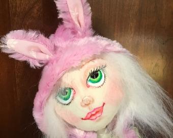 OOAK, cloth doll, fabric art doll, hand sewn, needle sculpted, bunny love
