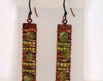 Copper and Peridot earrings