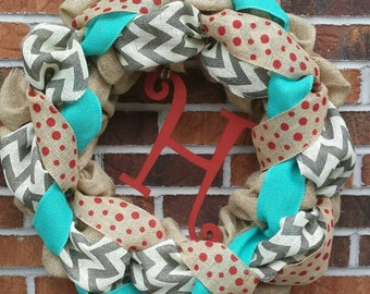 "18"" Turquoise  & Red  Burlap Initial Wreath"