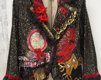 The Black lace Victorian Jacket, Upcycled jacket, Steampunk jacket, Wearable Art, Hand Embroidered, Art to wear, Upcycled Clothing