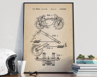 Bicycle Poster, Vintage Bicycles Patent, Bike Poster, Bike Art, Bicycle Print, Bicycle Wall Art, Cycling Art, Bike Patent  - DA0073