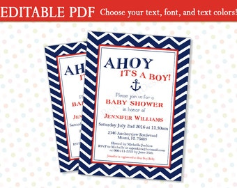 Editable baby Shower invitation (INSTANT DOWNLOAD) - Ahoy its a boy invitation - Nautical baby shower invitation - Baby shower invite MU006
