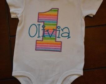 Rainbow 1st Birthday Outfit, Rainbow 1st Birthday Onesie