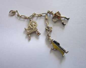 Vintage Charm Bracelet Charms Lot of 3 Spinning Wheel & More