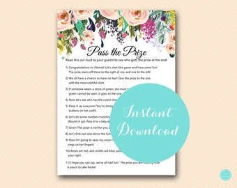 Pass the Prize, Pass the Parcel Game, Poem, Pink Blush Bridal Shower Game, Pink Floral Bridal Shower, Pink Baby Shower  BS436 TLC436
