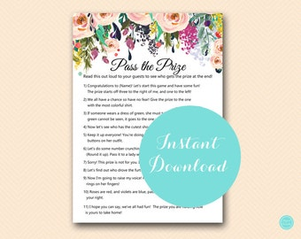 Wedding Shower Pass The Gift Poem : Pass the Prize, Pass the Parcel Game, Poem, Pink Blush Bridal Shower ...