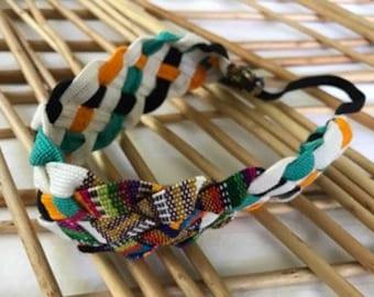 Elastic Multicolor Woven Headband/Guatemalan Elastic Multicolor Headband/Hippie Headband/Boho Headband/White and Green Elastic Diadem