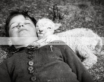 Printable Instant Download - Boy with Baby Lamb - Paper Crafts Scrapbooking Altered Art - Vintage Antique Black and White Photography