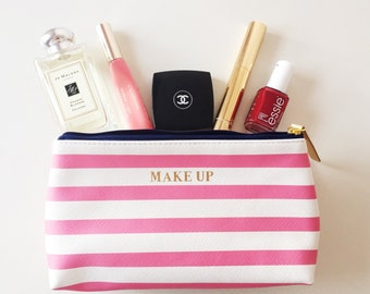 Pink Stripe Make up bags with gold trim