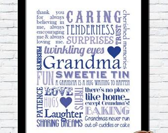PERSONALISED Bespoke Grandma Grandmother Nan Nana Memories Typography Word Art Print GIFT