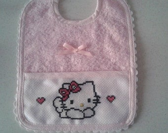 hand embroidered baby bib Hello Kitty pattern