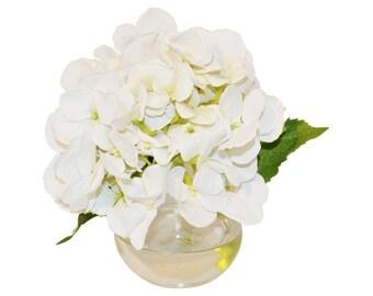 White Hydrangea in Bubble Vase, Faux