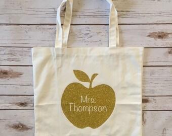 Personalized Teacher Apple Tote