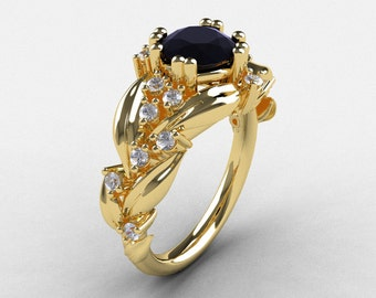 Nature Inspired 14K Yellow Gold 1.0 Ct Black and White Diamond Leaf and Vine Engagement Ring R340-14KYGDBD