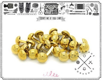 50PCS 10MM GOLD Round dome purse feet studs NAILHEADS.