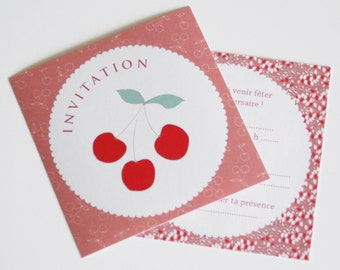 "Set of 5 anniversary stickers invitations ""Cherry"""