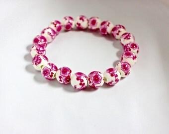 Magenta Flower Bead Bracelet