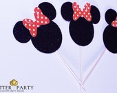 Minnie Mouse Birthday Party- 1 Dozen Black Glitter Minnie Bow-tique Cupcake Toppers With Red Polka Dot Bow!