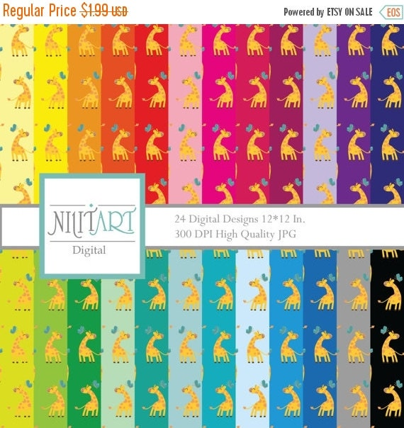 50% OFF SALE Giraffe Digital Paper Pack, Digital Paper, Scrapbook, giraffe Background DP007