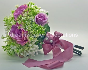 GABRIELLA. Silk flower bouquet, Pink rose, Babys' breath, Wedding and bridal accessory.